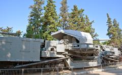 Naval cannon of ww2 on railway.  ukraine, crimea, sevastopol. monument. Stock Photos