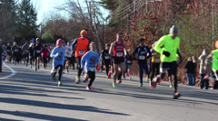 Crowd of Runners in Race - stock footage