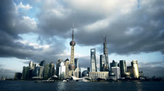 Time lapse Shanghai skyline,world urban economic Centre building. Stock Footage