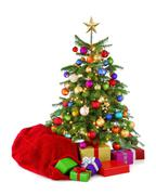 colorful christmas tree with santa's bag and gifts - stock photo