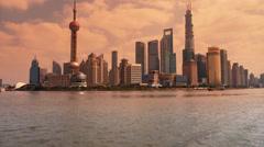 Shanghai sunset,Lujiazui Financial Center,busy Huangpu River shipping. Stock Footage