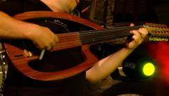 Playing an electric  Sitar - close up Stock Footage