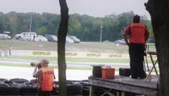 Cameraman shooting car race Stock Footage