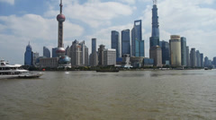 Shanghai China Asia,Lujiazui Financial Center,busy Huangpu River shipping. Stock Footage