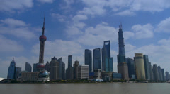 Shanghai Time Lapse,Lujiazui Financial Center,busy Huangpu River shipping. Stock Footage