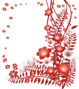 delicate red flowers on white background - stock illustration