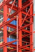 red construction frame - stock photo