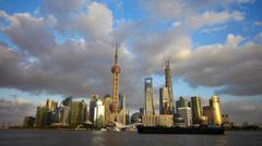 Time lapse Shanghai skyline at dusk,world urban economic Centre building. Stock Footage