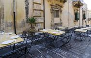 Stock Photo of restaurant terrace in noto
