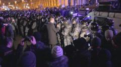 Strike in Ukraine - leader of the party (deputy) brings order Stock Footage