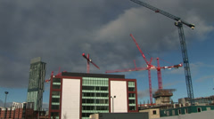 Cranes used in the city to build Stock Footage