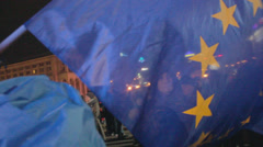 Stock Video Footage of Strike in Ukraine for Ukraine's accession to the EU (Flags)