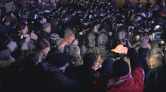 Strike in Ukraine - Police beat the reporter but he continues to take pictures Stock Footage
