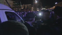 Strike in Ukraine - Police blocked the passage Stock Footage