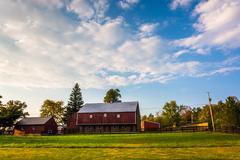 barn on a farm in rural adams county, pennsylvania. - stock photo