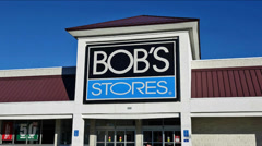Bobs Stores storefront zoom out Stock Footage