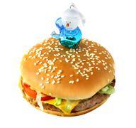Hamburger with snowman - stock photo