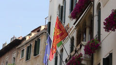 Flags of Venice, Italy, and European Union on Building Stock Footage