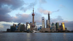 Time lapse Shanghai skyline at dusk,world urban economic Centre building. Stock Footage
