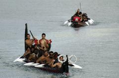 Maori war waka canoe Stock Photos