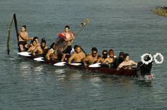 maori war waka canoe - stock photo