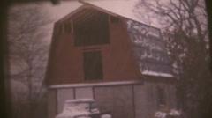 vintage  movies 8mm, snow strom , - stock footage