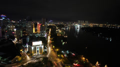 Saigon River front at night timelapse Stock Footage
