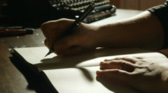 woman writing with fountain pen - stock footage