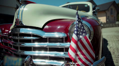 Detail shot of the front of vintage car - stock footage