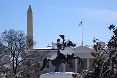 jackson statue lafayette park white house after snow pennsylvania ave washing - stock photo