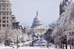 Us capital pennsylvania avenue after the snow washington dc Stock Photos
