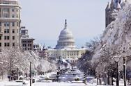 Stock Photo of us capital pennsylvania avenue after the snow washington dc