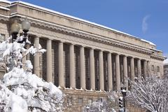 commerce department after the snow constitution avenue washington dc - stock photo