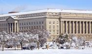 Stock Photo of commerce department after the snow constitution avenue washington dc