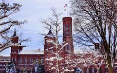 Smithsonian castle through snowy trees washington dc trademark obscured Stock Photos