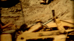 Close up oliver bulldozer pushing dirt on a construction site 1940s vintage Stock Footage