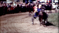 Horse cart Harness racing Horse competition carriage races 1940s vintage Stock Footage
