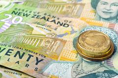 New zealand currency dollar notes  and coins money Stock Photos