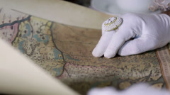 Detail shot of an old geographical map - stock footage