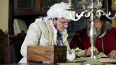 Scholar and noble man from 19th century during studies  Stock Footage