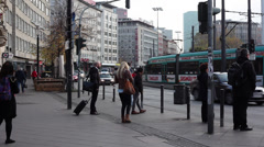 People at Am Hauptbahnhof Sidewalk - stock footage
