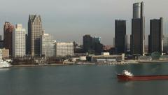 Detroit Skyline Morning Freighter 2 Stock Footage