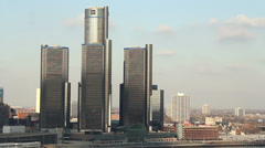 Renaissance Center Detroit Stock Footage