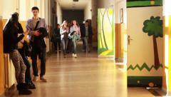 School Hallway Stock Footage