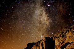 Red Rock Canyon Milky Way Galaxy Stock Photos