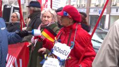 Ukrainian against  trade agreement between Ukraine and the EU demonstration Stock Footage