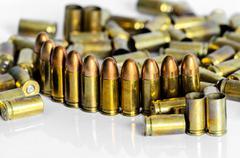 zoom of gun shelling - stock photo
