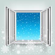Avoin ikkuna ja lunta Piirros