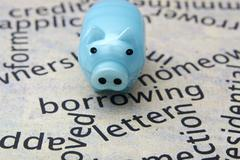 Piggy bank and borrow concept Stock Photos