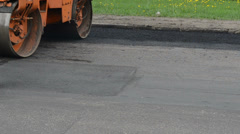 Heavy vibration roller compactor asphalt press works Stock Footage